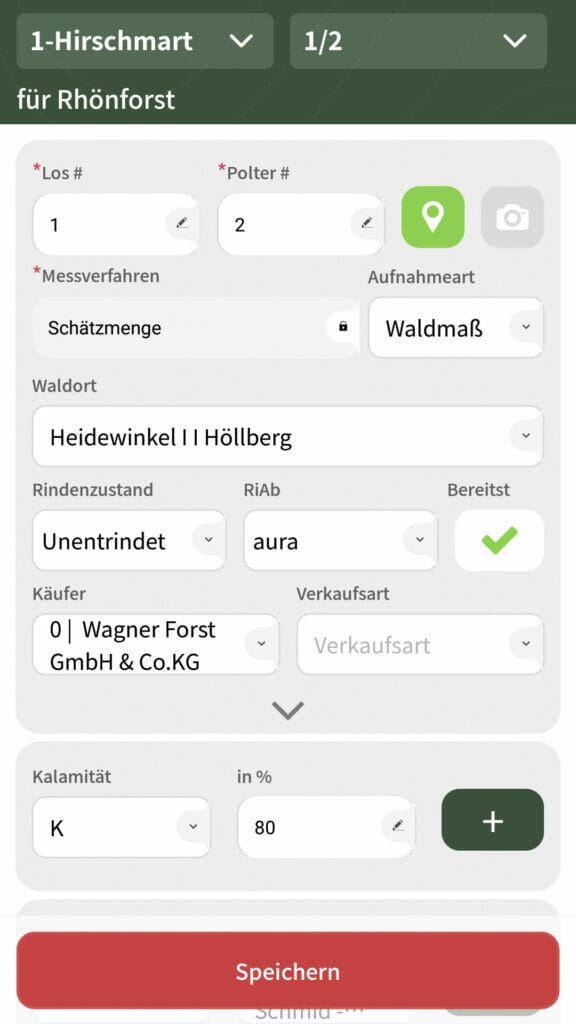 Holzaufnahme App Kalamität