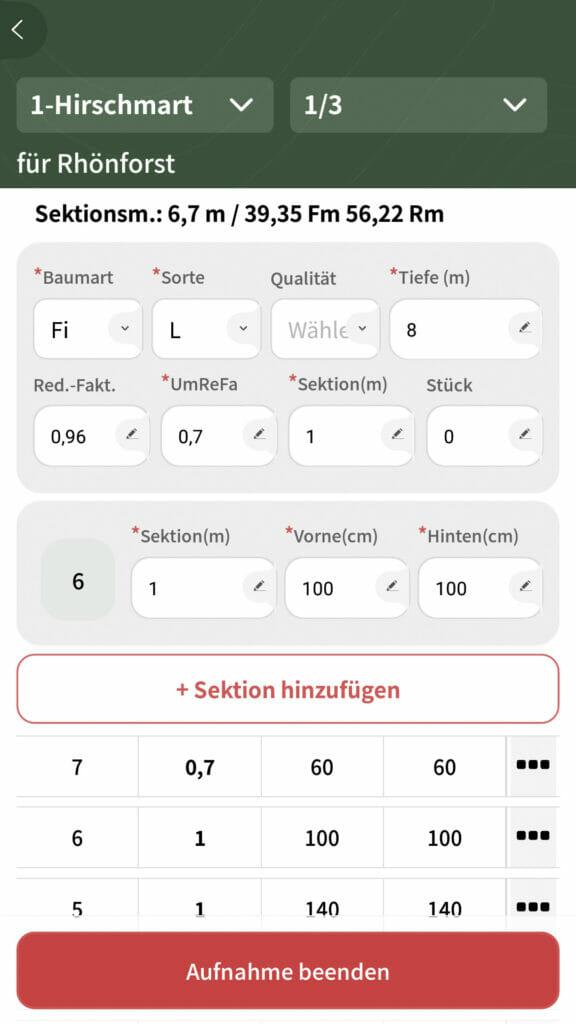 Holzaufnahme App Messverfahren Sektionsraummaßverfahren