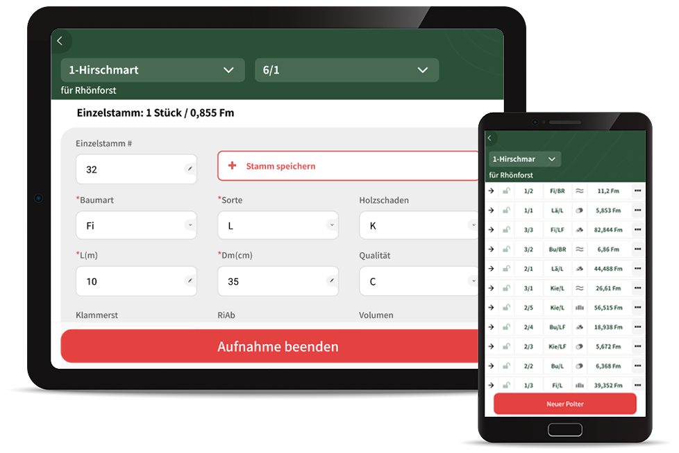 Holzaufnahme App Mobile Datenerfassung Rundholz