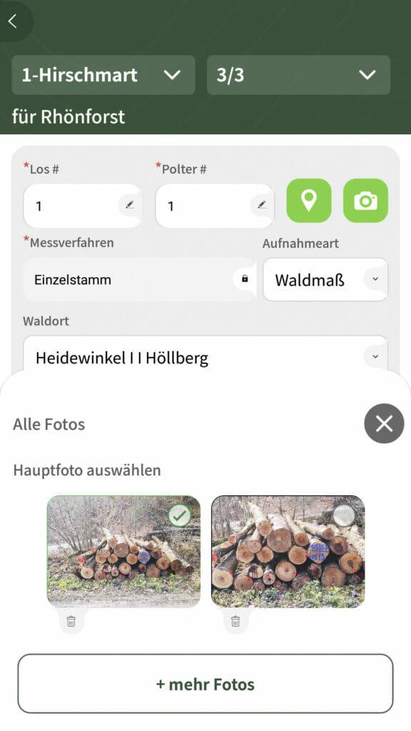 Holzaufnahme App Polterfotos