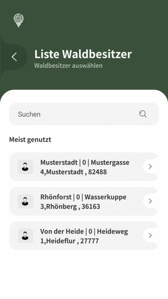 Holzaufnahme App Waldbesitzer